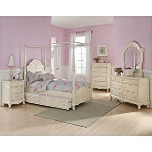 Homelegance Cinderella 5 Piece Canopy Poster Bedroom Set In Antique White Kitchen
