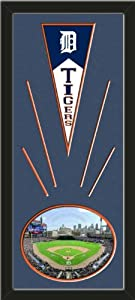 Detroit Tigers Wool Felt Mini Pennant & Tiger Stadium Photo - Framed With Team... by Art and More, Davenport, IA