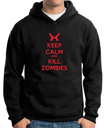 Cotton Island - Felpa Hoodie TZOM0041 keep calm and kill zombies , Taglia XXL