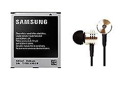 Genric Samsung Galaxy OEM battery and Piston Design Earphones for Samsung Galaxy Star Pro S7262 B100AE-1500 mAh (Black)