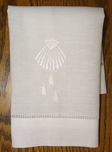 White Linen Baptism Cloth with Shell