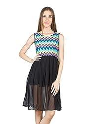 Panit Women's Georgette Dress (PANI017A_Black_Large)