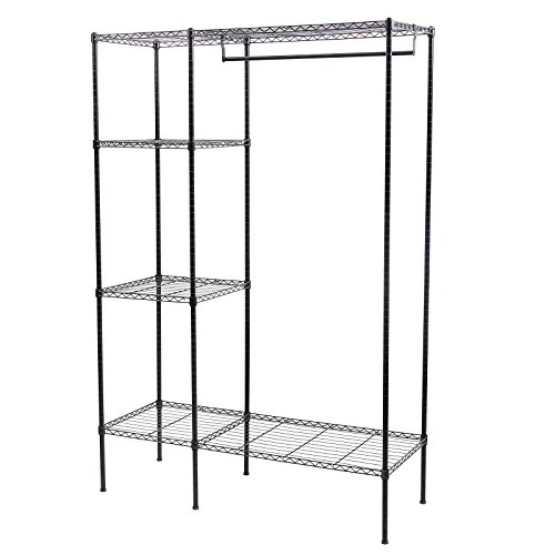 SONGMICS Shelving Garment Rack Heavy Duty Clothes Closet with Adjustable Shelves and Hanging Bar ULGR12P (Wire Shelving And Garment Rack compare prices)