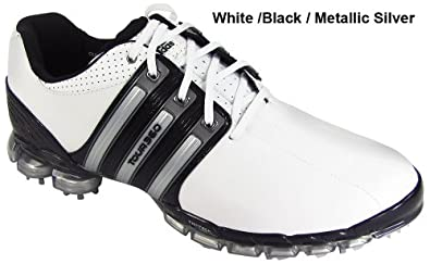 adidas AD Tour 360 Mens Golf Shoes, White / Black / Metalic Silver, 9 W (US)