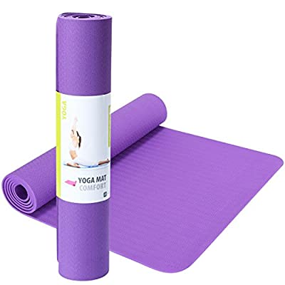 SIMPLORE Professional Sports Fitness Eco-friendly TPE Yoga Mat Comfort 1/4-Inch(6mm) Thick Exercise Sit Up Pilates Mats Purple Orange Blue Red Green