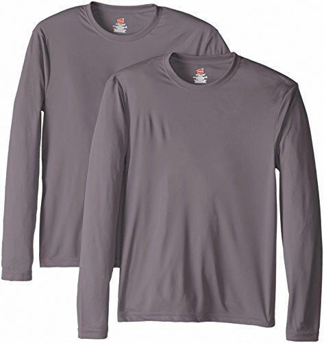 Hanes-Mens-2-Pack-Long-Sleeve-Cool-Dri-T-Shirt-UPF-50