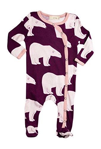 Zebi Baby Plum Polar Bear Certified 100% Organic Cotton Footed Romper (3-6 Months)