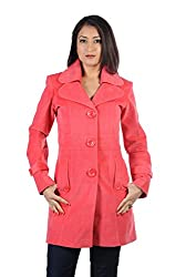 JAMES SCOT-Full Sleeves Solid Pink Colour Woolen Winter Wear Long Coat For Womens