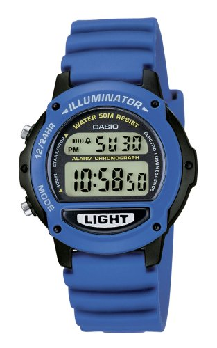 Casio Collection - Reloj digital unisex de cuarzo con correa de resina azul (cronómetro, alarma, luz) - sumergible a 50 metros