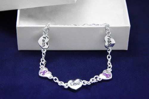 Purple Ribbon Bracelet-Hope, Faith, Love (18 Bracelets)
