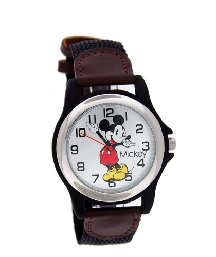 Disney Men's MCK617 Mickey Mouse Black and Brown Strap Moving Hands Watch
