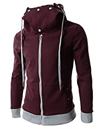 (LCJ18) TheLees Slim Fit 2 Tone Hooded Zipper Cotton Jacket WINE US L(Tag size 2XL)