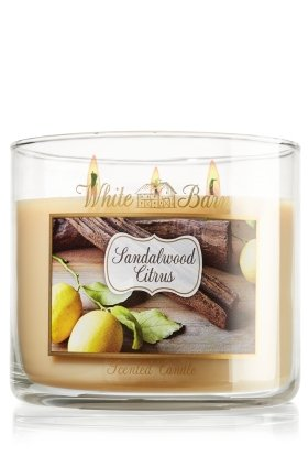 Bath and Body Works White Barn 3 Wick Candle Sandalwood Citrus 14.5 Oz