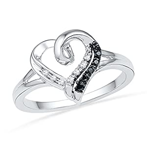 Sterling Silver Black And White Round Diamond Heart Ring (1/20 cttw) by D-GOLD