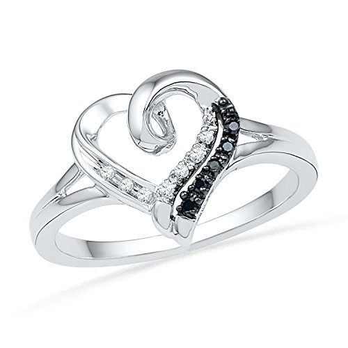 Sterling Silver Black And White Round Diamond Heart Ring (1/20 Cttw)