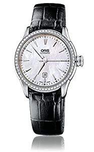 Oris Artelier Date Automatic Steel & Diamond Womens Strap Watch MOP Dial 561-7604-4956