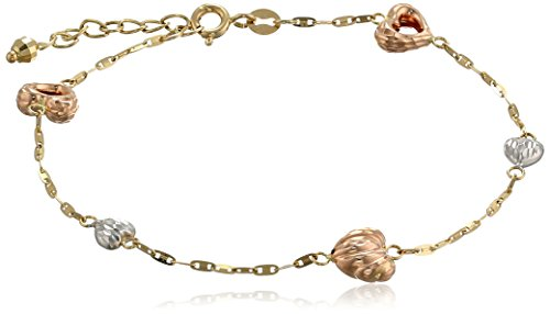 "14K Tri-Color Yellow, White And Rose Gold Hearts Station Bracelet, 6.75""+1"" Extender"