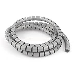 1.5m 5ft 10mm Inner Dia Gray Wire Cable Organizer Wrap for TV Lines