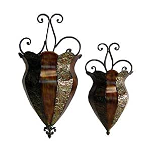 Metal Wall Sconces For Plants : Amazon.com : Metal Wall Sconces in Green Brown Finish - Set of 2 : Hanging Planters : Patio ...