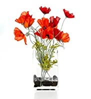 Artificial Poppy in Tank Vase