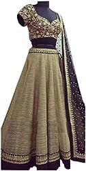 D&J International Bhagalpuri Silk Machine Work Brown Semi Stitched Lehenga