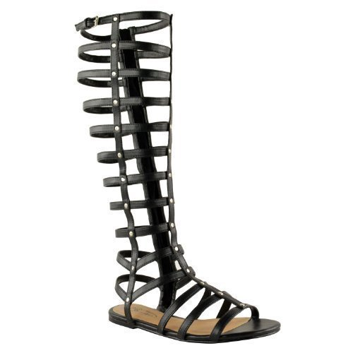 Sandali da gladiatore piatti al ginocchio - Simil pelle Nera, sintetico, 38