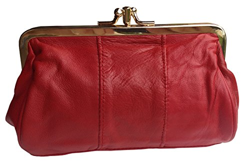 Visnow® Triple Fram Genuine Soft Leather Large Coin Purse Cosmetic Clutch Wallet (New Version Red) - 1