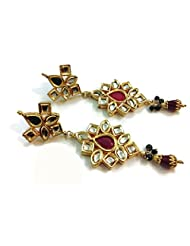 Divinique Jewelry Really long kundan earrings maroon n green