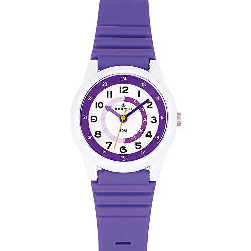 Certus 647581 - Unisex Watch - Analogue Quartz - White Dial Purple Plastic Strap
