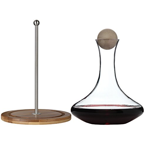 Classic Glass Wine Decanter with Wooden Ball Stopper and Decanter Dryer Stand. By Lily's Home (Wine Carafe And Glasses Set compare prices)