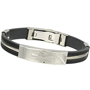 10mm Wide Stainless Steel and Rubber Cross Bracelet 8