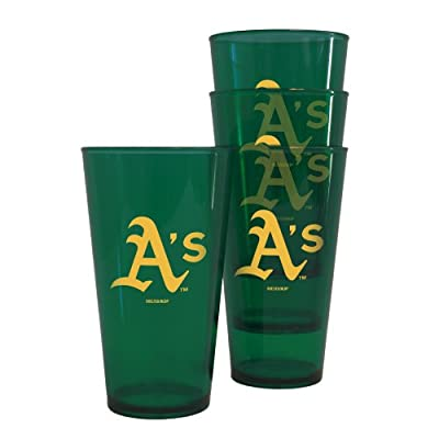 MLB Oakland Athletics 16-Ounce Colored Plastic Pints (4 Pack)