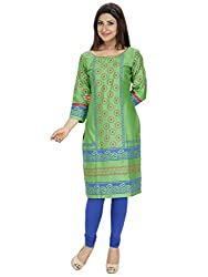 Tanvi Light Green Cotton Straight Kurti For Women
