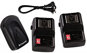Cheaplights NPT-04 4 Channel Wireless Hot Shoe Flash Trigger and 2 Receivers Set for Canon Nikon Pentax,OTT-04GY