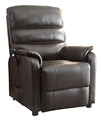 Homelegance 8545-1LT Power Lift Recliner Chair, Dark Brown Bonded Leather