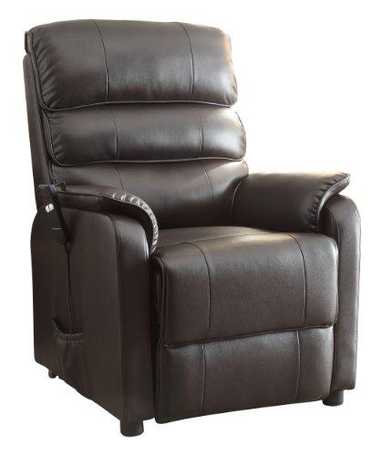 Homelegance 8545-1Lt Power Lift Recliner Chair, Dark Brown Bonded Leather