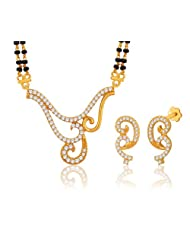 "Peora Valentine 18 Karat Gold Plated Cubic Zirconia ""Shayna"" Mangalsutra Earrings Set (PM53GJ)"