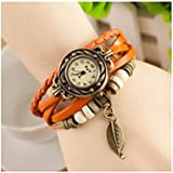 Domire Fashion Accessories Trial Order New Quartz Fashion Weave Wrap Around Leather Bracelet Lady Woman Leaf Wrist Watch