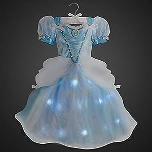 Disney Store Little Girls Light Up Princess Cinderella Costume Dress - 4T Blue