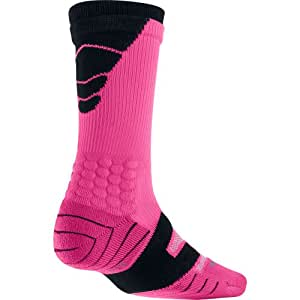 Nike Vapor Elite Football Crew (Medium, VIVID PINK/BLACK//BLACK)