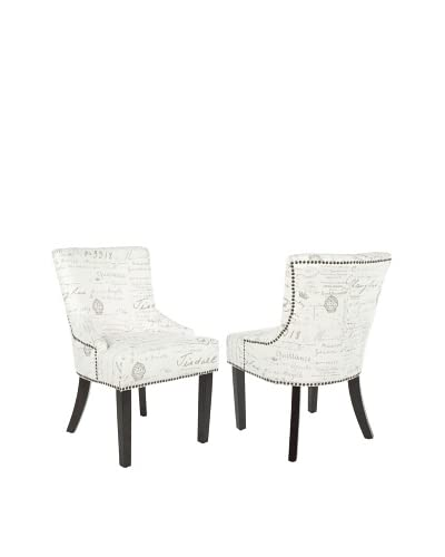 Safavieh Set of 2 Lotus Side Chairs, Eggshell/French Writing