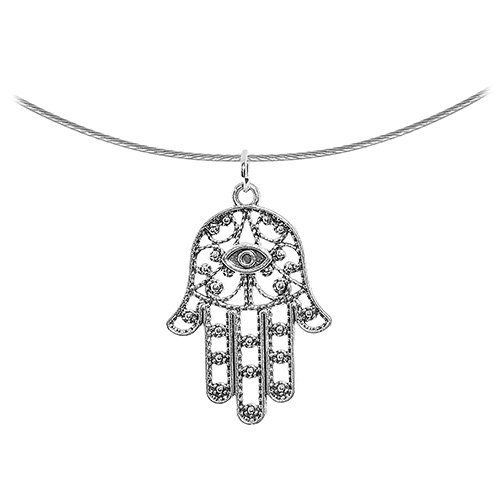 Body Candy Ancient Hamsa Hand Pendant Choker Necklace, 17.5""