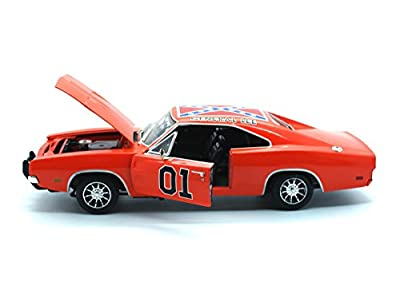 Amm964 Auto World Silver Screen Machines - The Dukes of Hazzard General Lee Dodge Charger #01 (1969, 1:18, Orange) Amm964 Diecast Car Model Auto Vehicle Automobile Metal Iron Toy