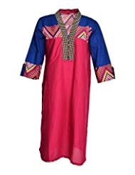 Global Women's Cotton Straight Kurta (GW34MagentaXL015, Red, XL)