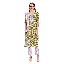 Pinkshink Green Hand Block Printed Cotton Salwar Kameez Dress Material k103