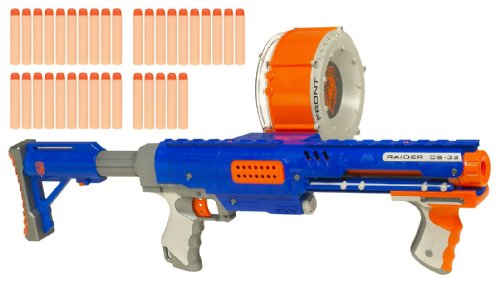 Blue Nerf Shotgun N-Strike Raider Rapid Fire CS-35 Dart Blaster