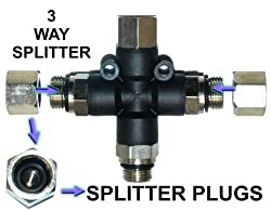 3-Way Airbrush Air Hose Splitter Manifold with 1/8&quot; fittings and plugs