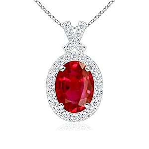 Black Friday & Cyber Monday - Diamond Halo Oval Natural Ruby Vintage Pendant Necklace in Platinum (6mm Ruby)