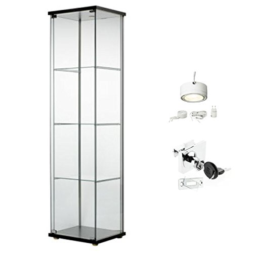 Ikea Detolf Glass Curio Display Cabinet Black, Lockable, Light and Lock Included