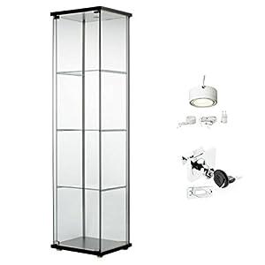 Amazon Com Ikea Detolf Glass Curio Display Cabinet Black
